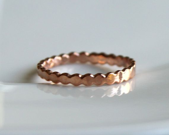 Thin Rose Gold Stackable Ring Dot Skinny Hammered Stack Ring Slim Everyday Simple Modern Minimal Stack Ring