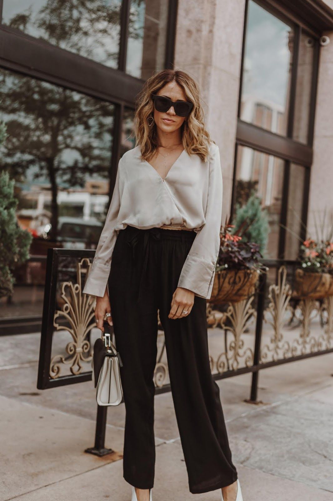 0f15b2959f761 What to wear to an office dinner party | Satin top outfit party | High  waist pants work | Wide leg high waist pants work | Satin long sleeve shirt  outfit ...