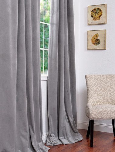 Silver Grey Pole Pocket Velvet Blackout Curtains U0026 Drapes