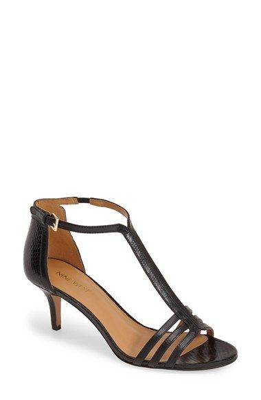 1e788bec9f3c Free shipping and returns on Nine West  Go Home  Kitten Heel T-Strap  Leather Pump (Women) at Nordstrom.com. Textured leather shapes a retro-inspired  T-strap ...