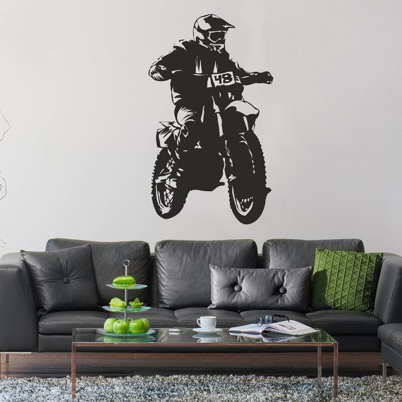 Motocross wall decal Extreme sports vinyl stickers Motocycle wall