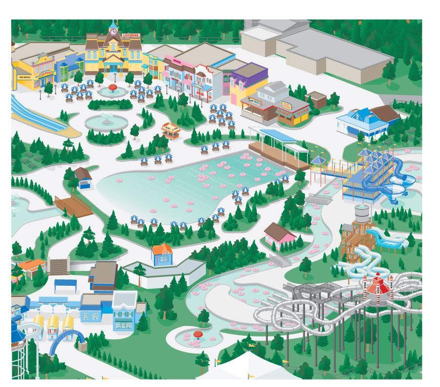 3d Amusement Park Map Illustration With Images Illustrated Map