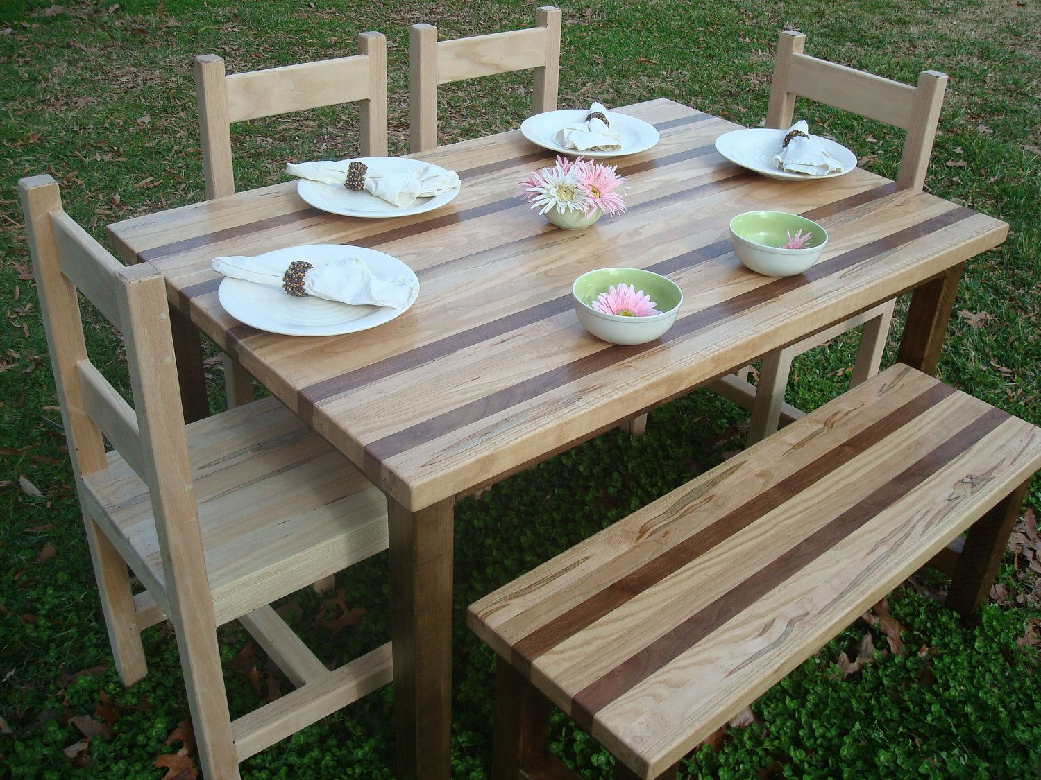 idea for walnut, purple heart, blue mahoe table. Dining Table  BenchReclaimed Wood . - Reclaimed Wood Outdoor Furniture Show Home Design