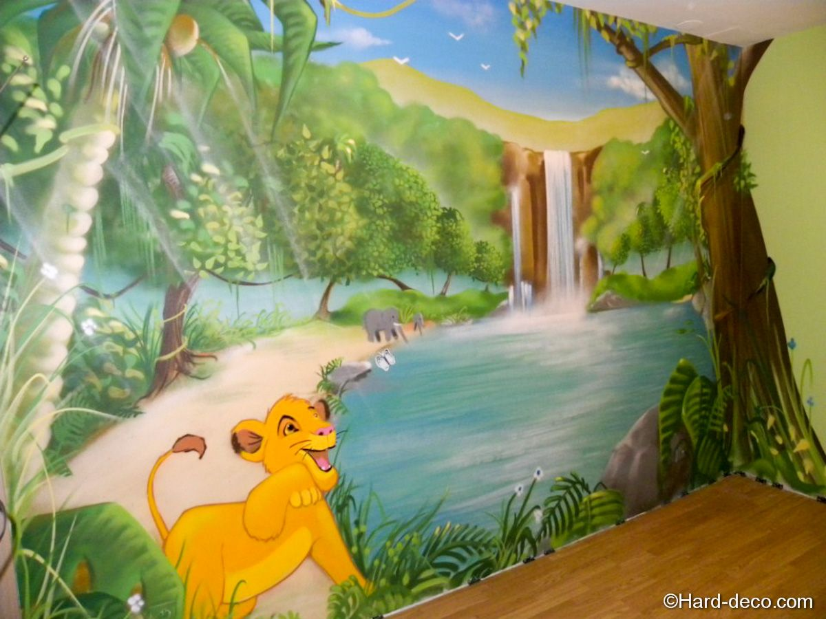 Lion, jungles and peintures murales on pinterest