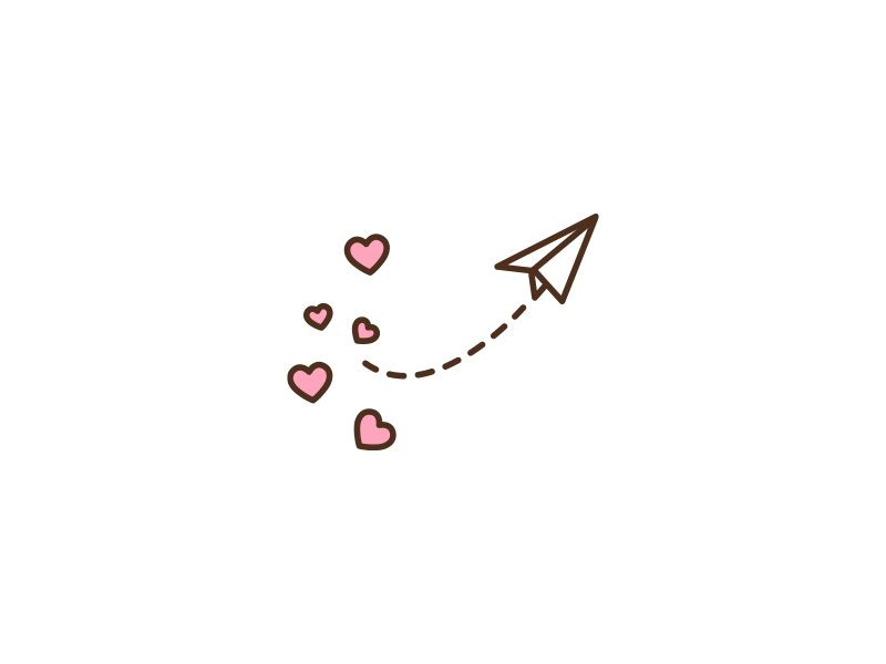 Paper Airplane with Hearts Flat Icon [PNG] #valentinesday #love #cute