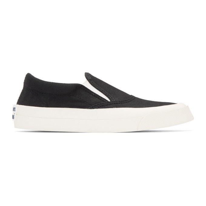 MAISON KITSUNÉ   Black Slip-On Sneakers #Shoes #Low top sneakers #MAISON