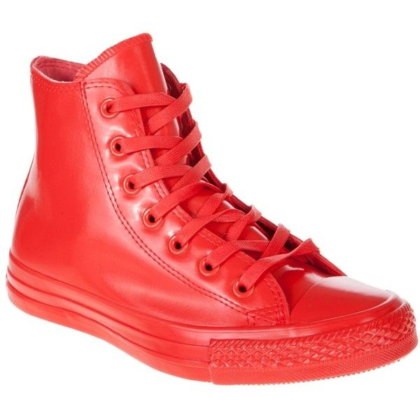 Converse Womens Chuck Taylor All Star Hi Patent Rubber ($44) ❤ liked on Polyvore featuring shoes, sneakers, red patent leather sneakers, red trainer, rubber shoes, patent leather shoes and high top sneakers