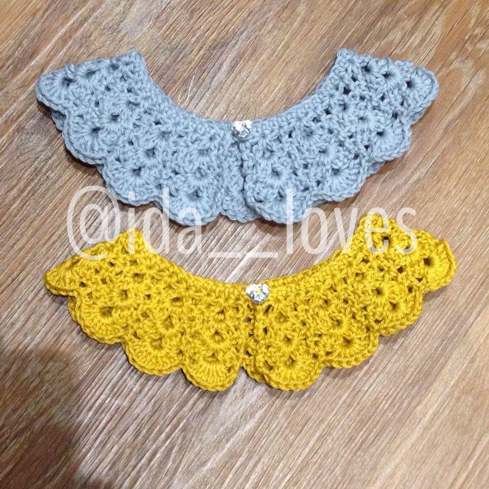 Grey and mustard Peter Pan crochet collar