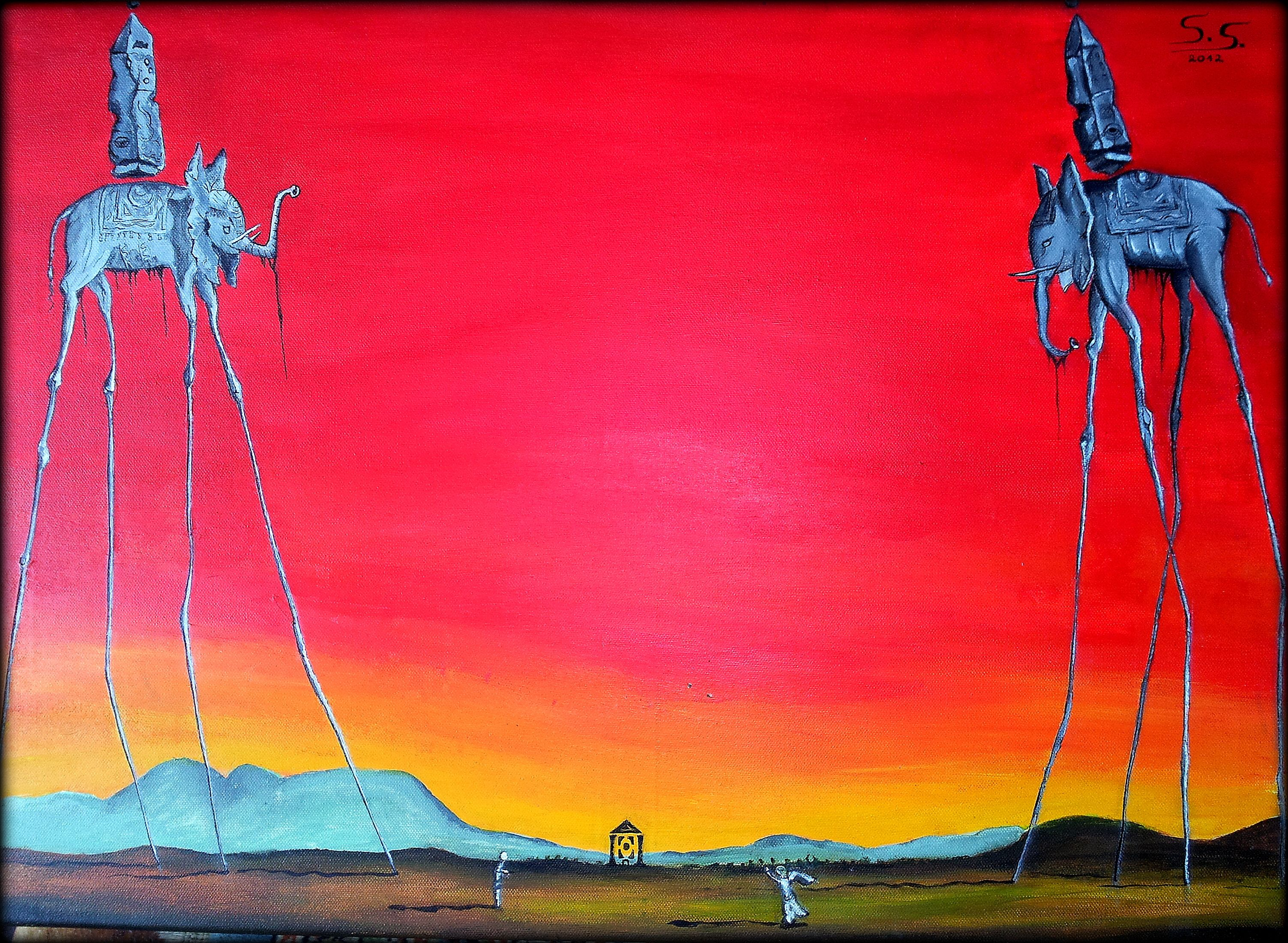 The Elephants By Dali New Edition By Oil Bac D5efl02