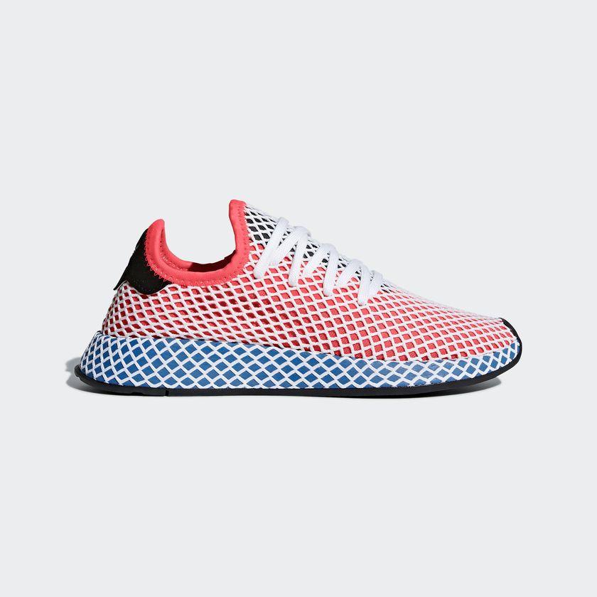 cq2624} mens adidas originali deerupt runner scarpe solare rosso / blu