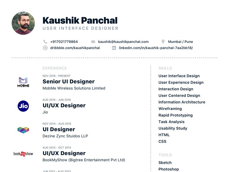 Tilak in 2020 Resume design, User interface, Job resume