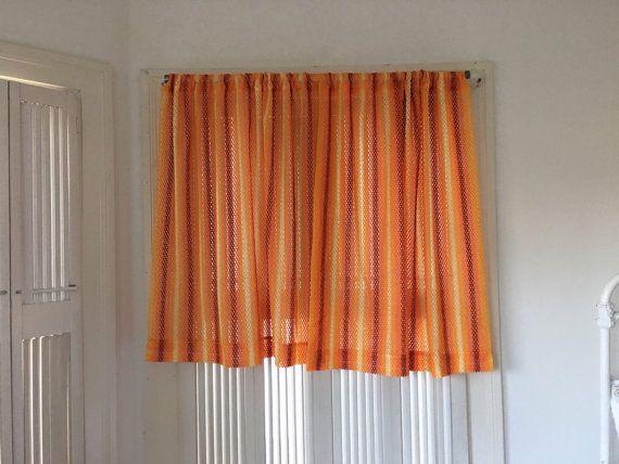 2 Retro Orange Striped Curtains 60s Crochet Sheer