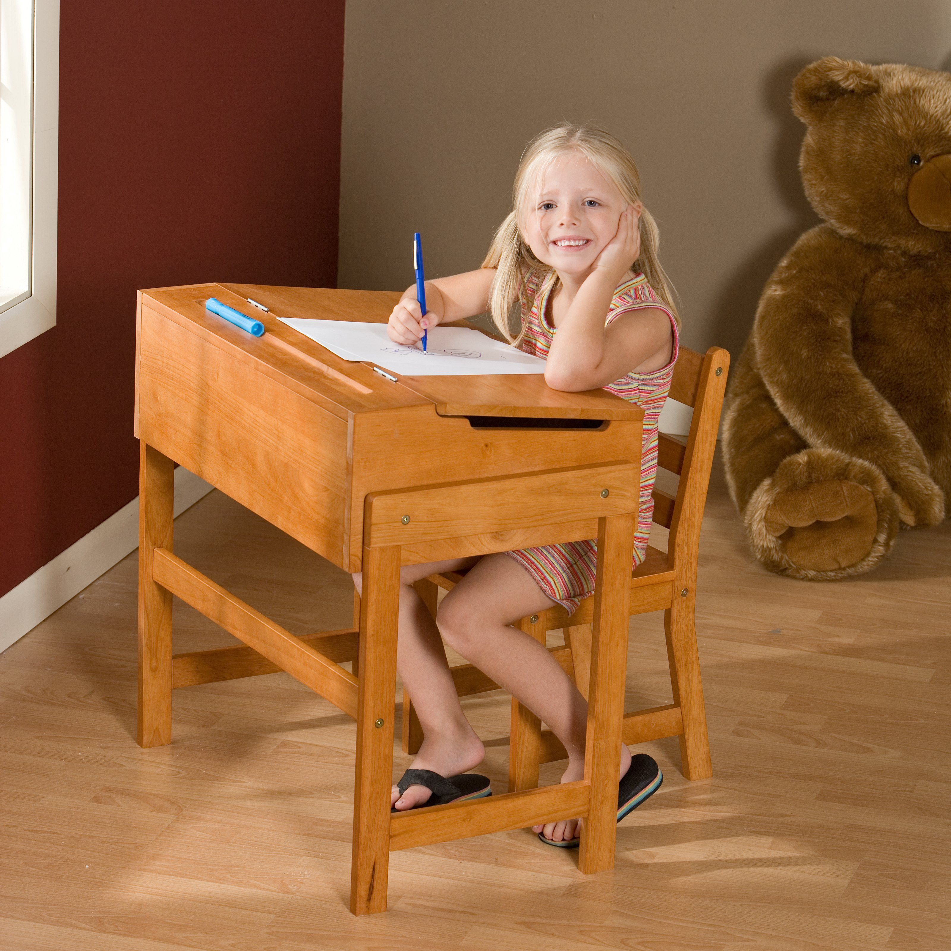 Have to have it. Schoolhouse Desk and Chair Set Pecan