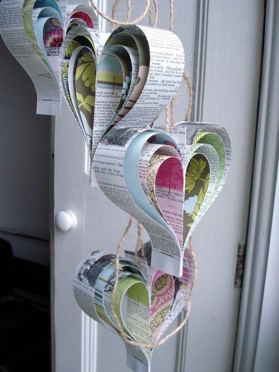 repurposed book - paper hearts