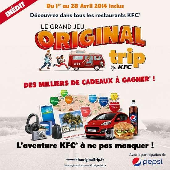 KFC organise un jeu concours Original Trip avec plus de 400 000 cadeaux à gagner.