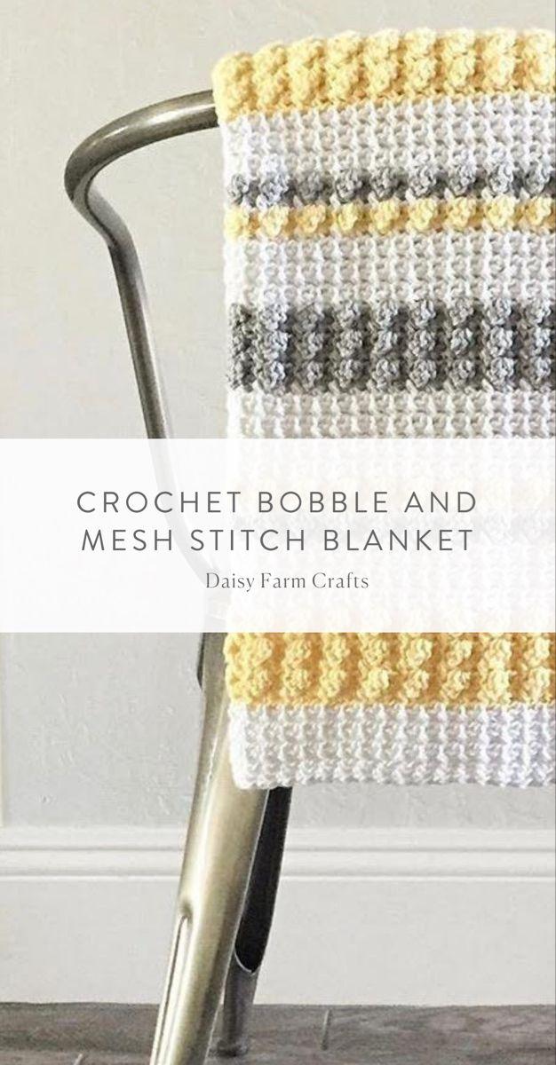Couverture à pompon et filet au crochet gris et jaune | Artisanat Daisy Farm   – Crochet Baby Blankets