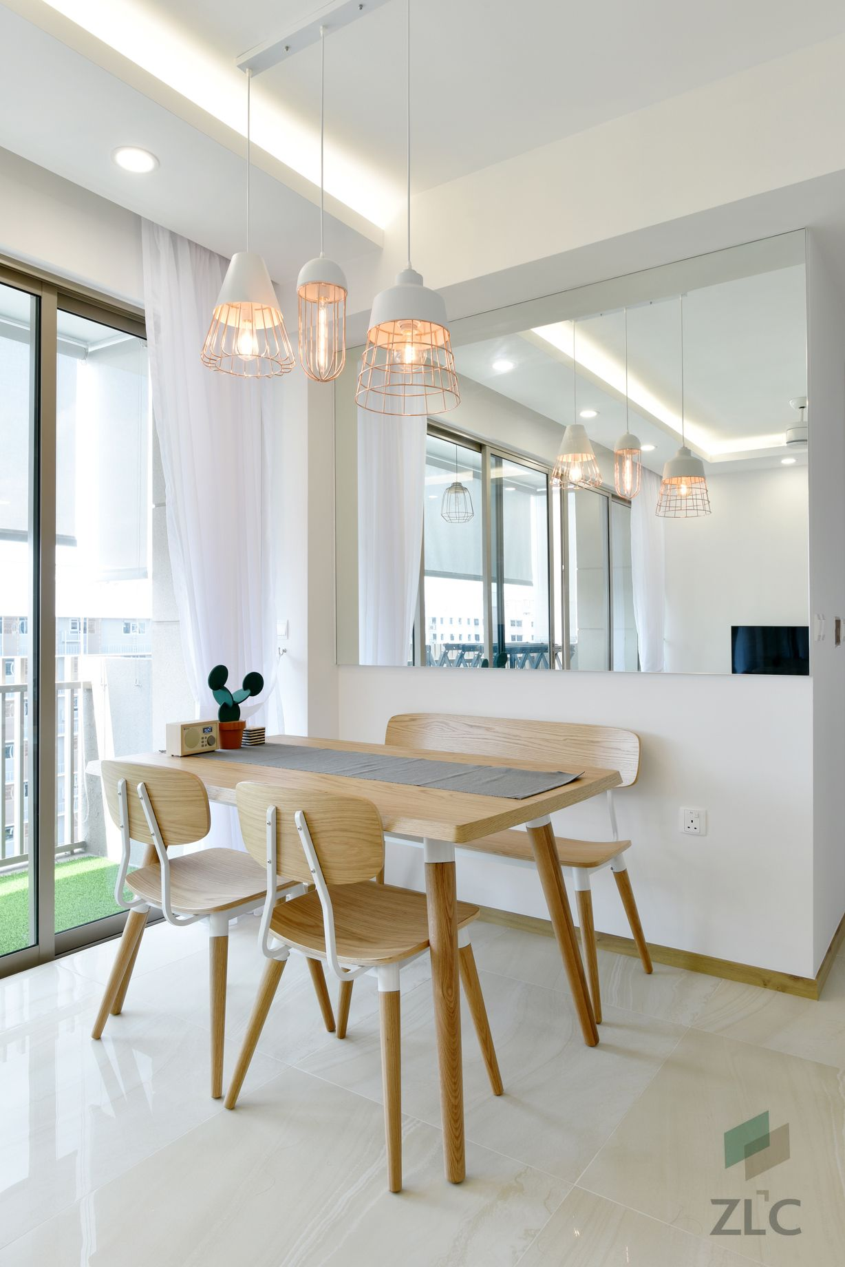 Z L Construction Singapore Trio Pendant Lights In Champagne Coated Finish Customized Mirror Wall Cladding Renovations Cove Lighting Renovation Contractor