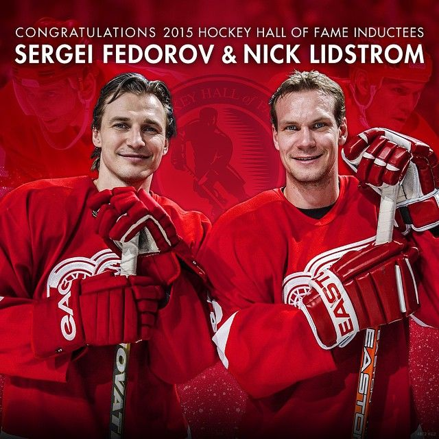 Congrats Nick and Sergei! #Classof2015 -Sergei and Nick will join Igor Larionov,Brett Hull, Luc Robitaille,Steve Yzerman & Scotty Bowman,Brendan Shanahan,Chris Chelios and Dominik Hasek making the 2002 DRW's the team with the most HOF members in NHL history.With the chance of still more joining this group in the Hall one day,Like Datsyuk and Osgood and Holmstrom....