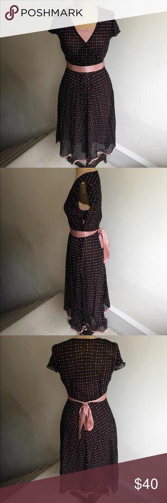 Lordutaylor pink and black polka dot dress euc beautiful dress by