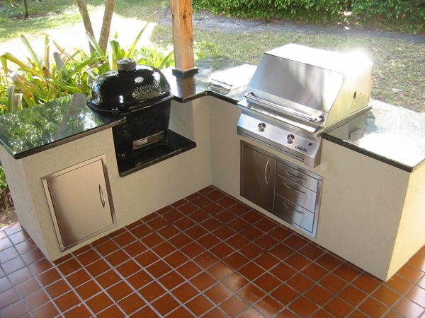 Charcoal and wood kamado barbecue and an infrared gas for Custom outdoor bbq kitchens