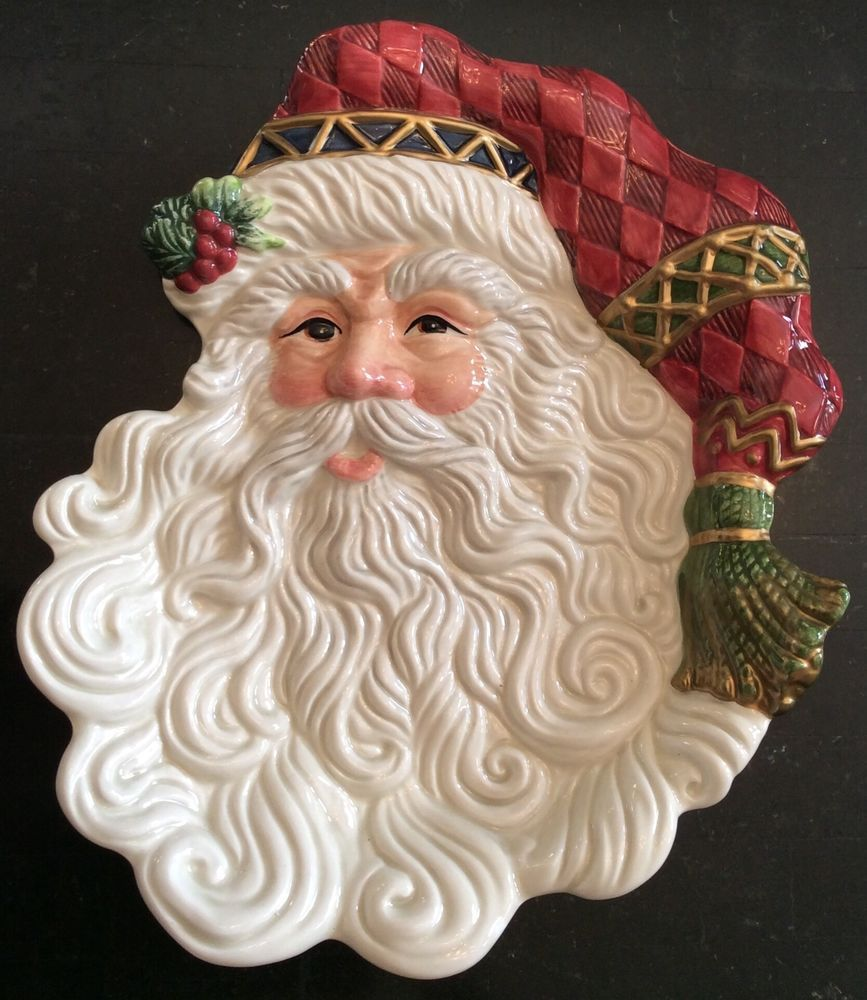 Vintage fitz floyd classics jolly ole st nick santa for Fitz and floyd canape plate