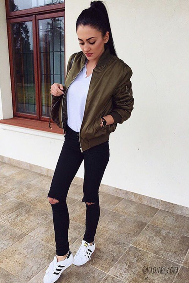 Grey Faux Lambswool Jacket , Strike a Pose // A cool model off,duty look by  Jeanette in moss green bomber jacket.