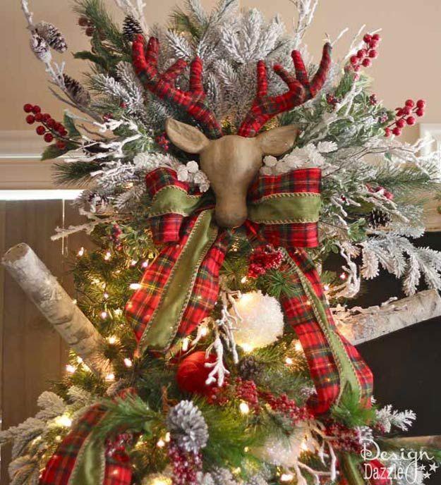 DIY Reindeer Antlers Tree Topper   15 DIY Christmas Tree Topper Ideas