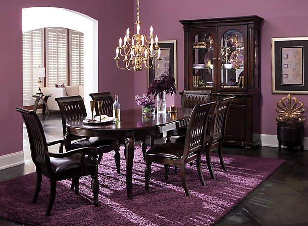 Formal Dining Room Color Schemes love this! espresso furniture and purple walls and carpet! | for