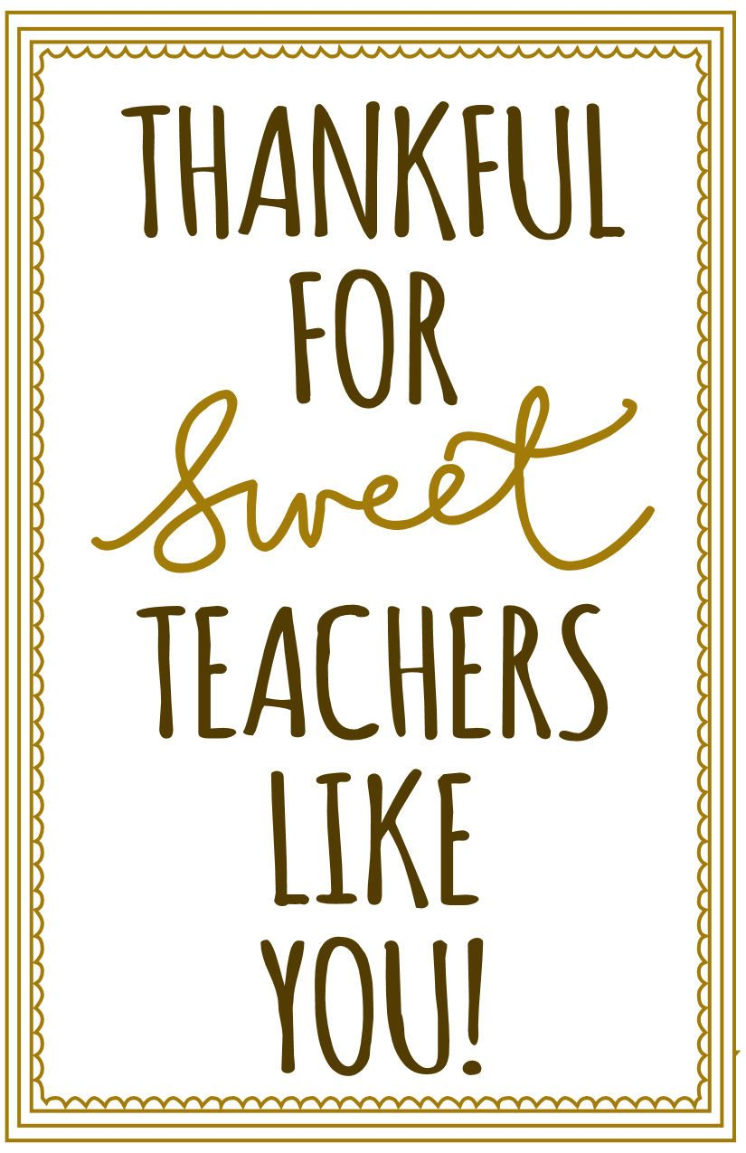 Thankful for SweetTeachers Like You, Free Printable! For ...