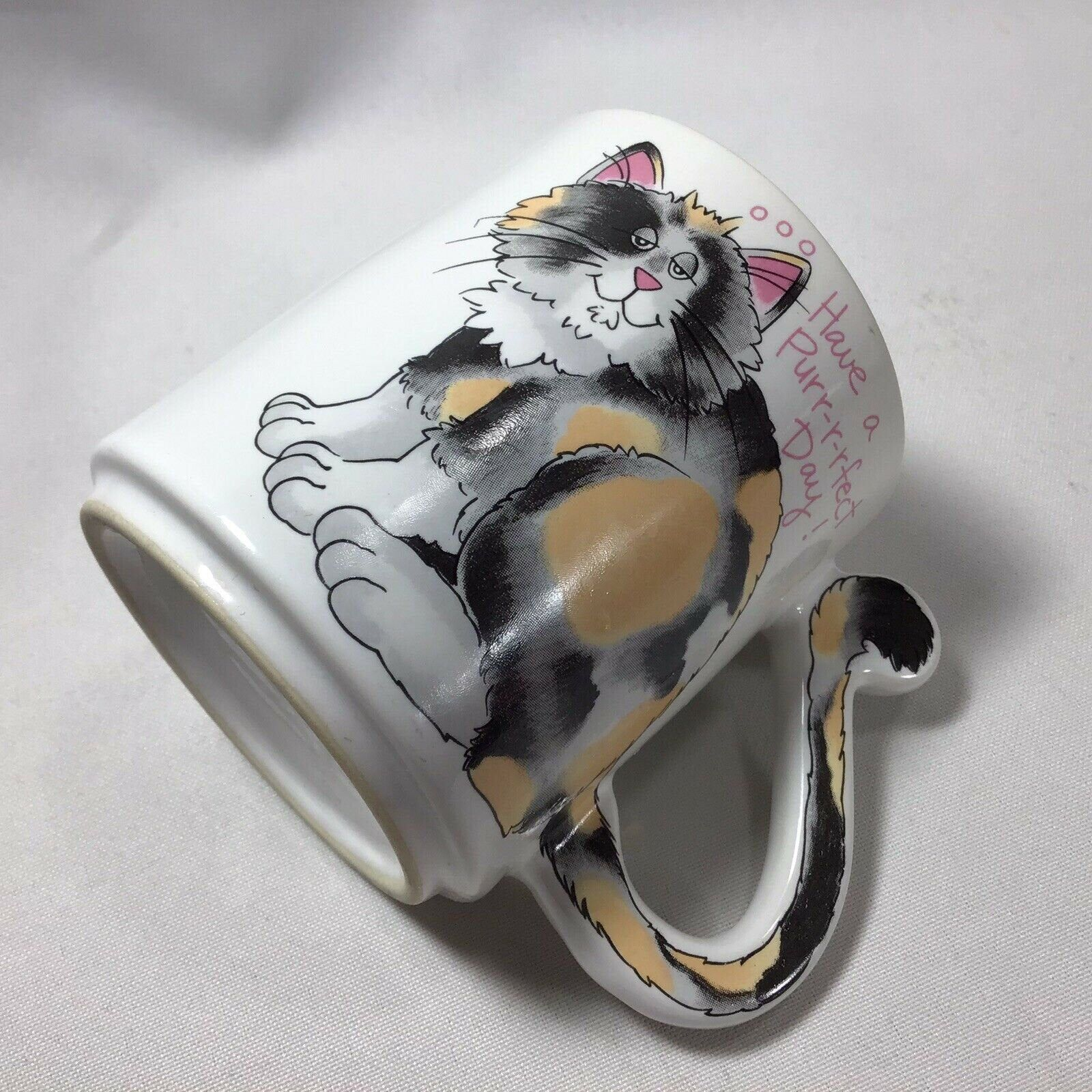 Calico Cat Mug Have a Purr-r -fect Day Auction Japan Tail Is Handle