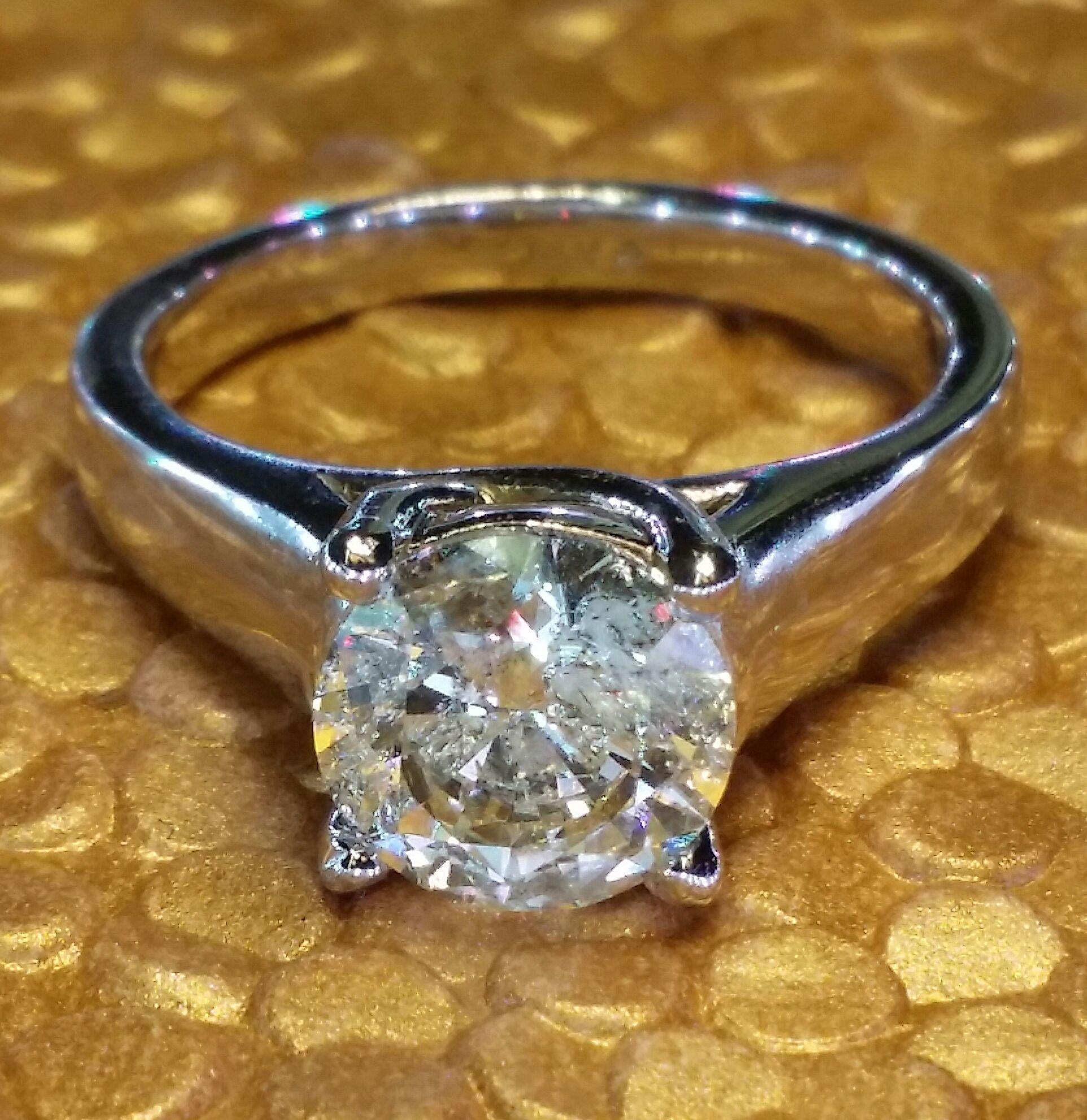 2.01 carat solitaire diamond engagement ring white gold .layaway