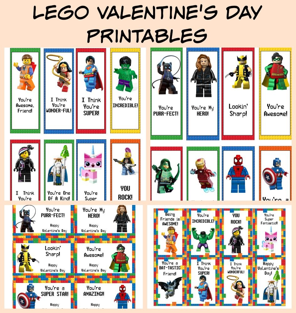 FREE Printable LEGO Valentines Day Cards Bookmarks – Free Printable Valentine Cards for Friends