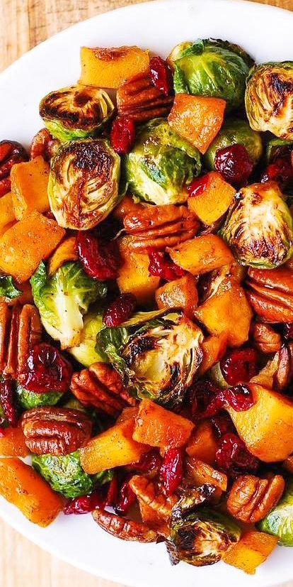 Thanksgiving Side Dish: Butternut Squash, Brussels sprouts, Cranberries, Pecans