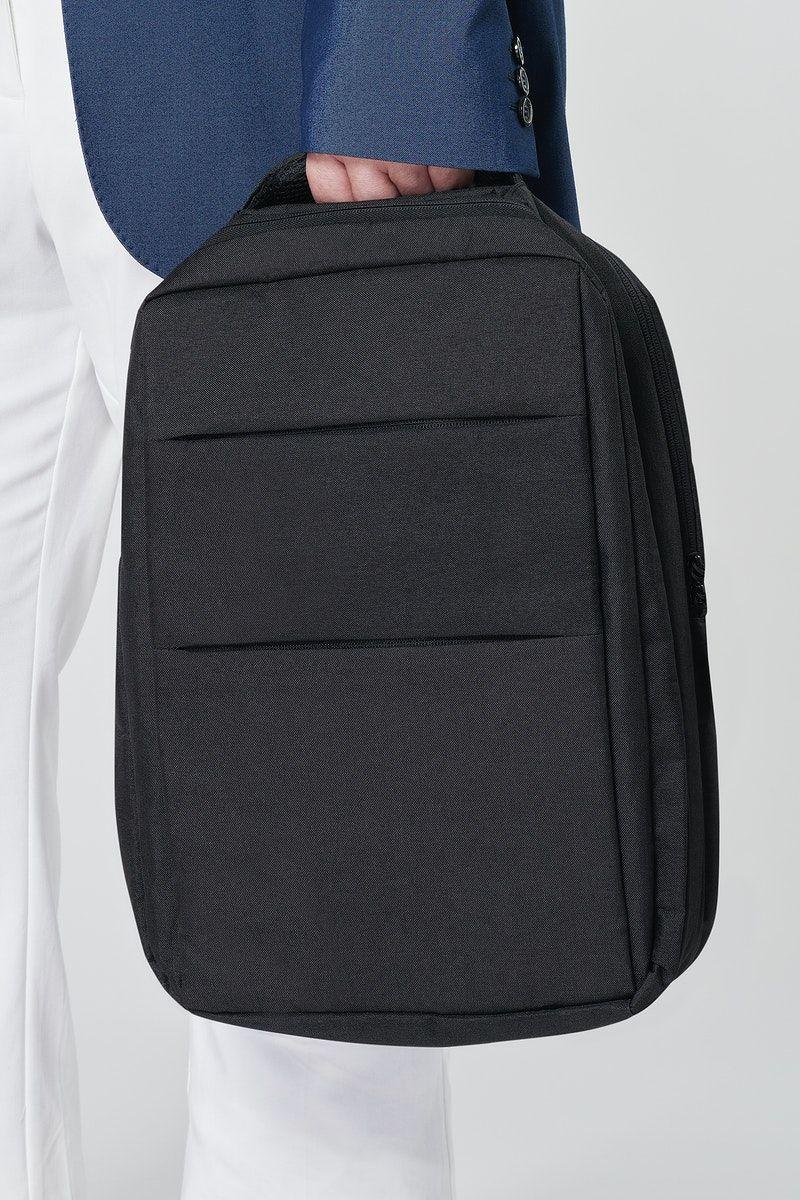 Download Download Premium Illustration Of Psd Model Holding Black Laptop Backpack Clothing Mockup Bag Mockup Backpacks