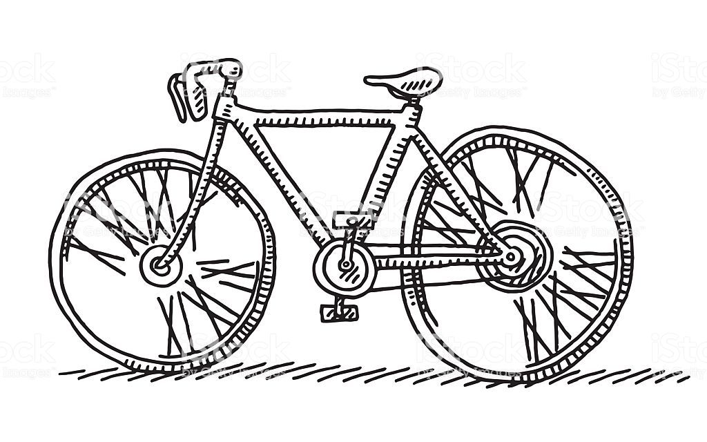 Hand Drawn Vector Drawing Of A Racing Bicycle Side View