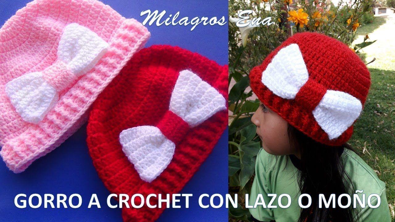 Gorro a crochet FÁCIL Y RÁPIDO de tejer con Moño o Lazo paso a paso ...