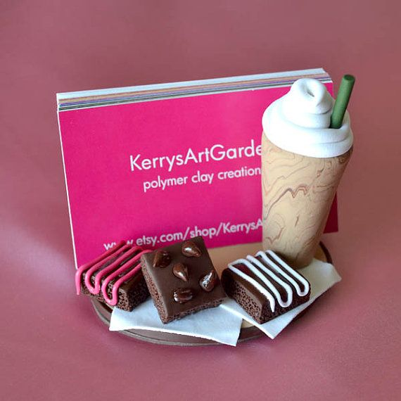 Items Similar To Frappuccino Brownies Polymer Clay Business Card Holder On Etsy