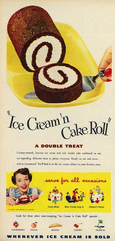 1951 Food Ad, Ice Cream 'n Cake Roll | Vintage