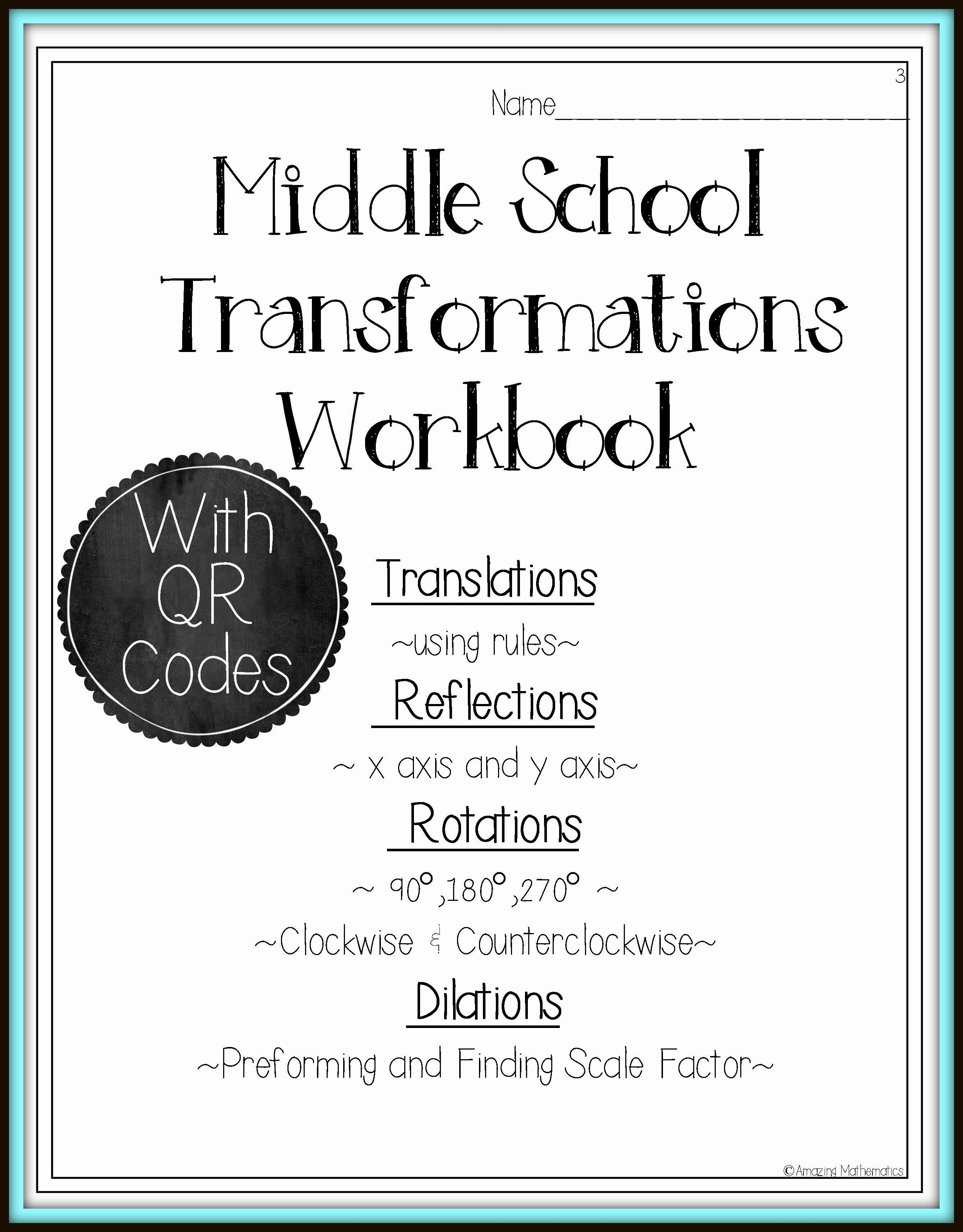 Transformations Workbook Reflections Rotations Translations And Dilations Workbook 8th Grade Math Worksheets Dilations