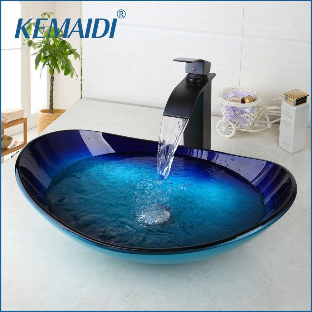 Kemaidi Combo Set Counter Top Mixer Round Taps Sink Faucet Vessel Drain Bathroom Sink Vanity Waterfall Spo Glass Basin Bathroom Sink Bowls Bathroom Sink Vanity [ 1000 x 1000 Pixel ]