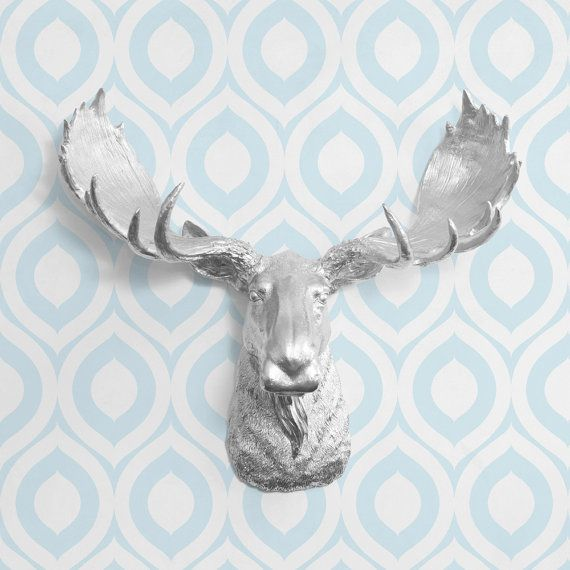The Alberta In Silver Faux Moose Head Fake By Wallcharmers 84 97