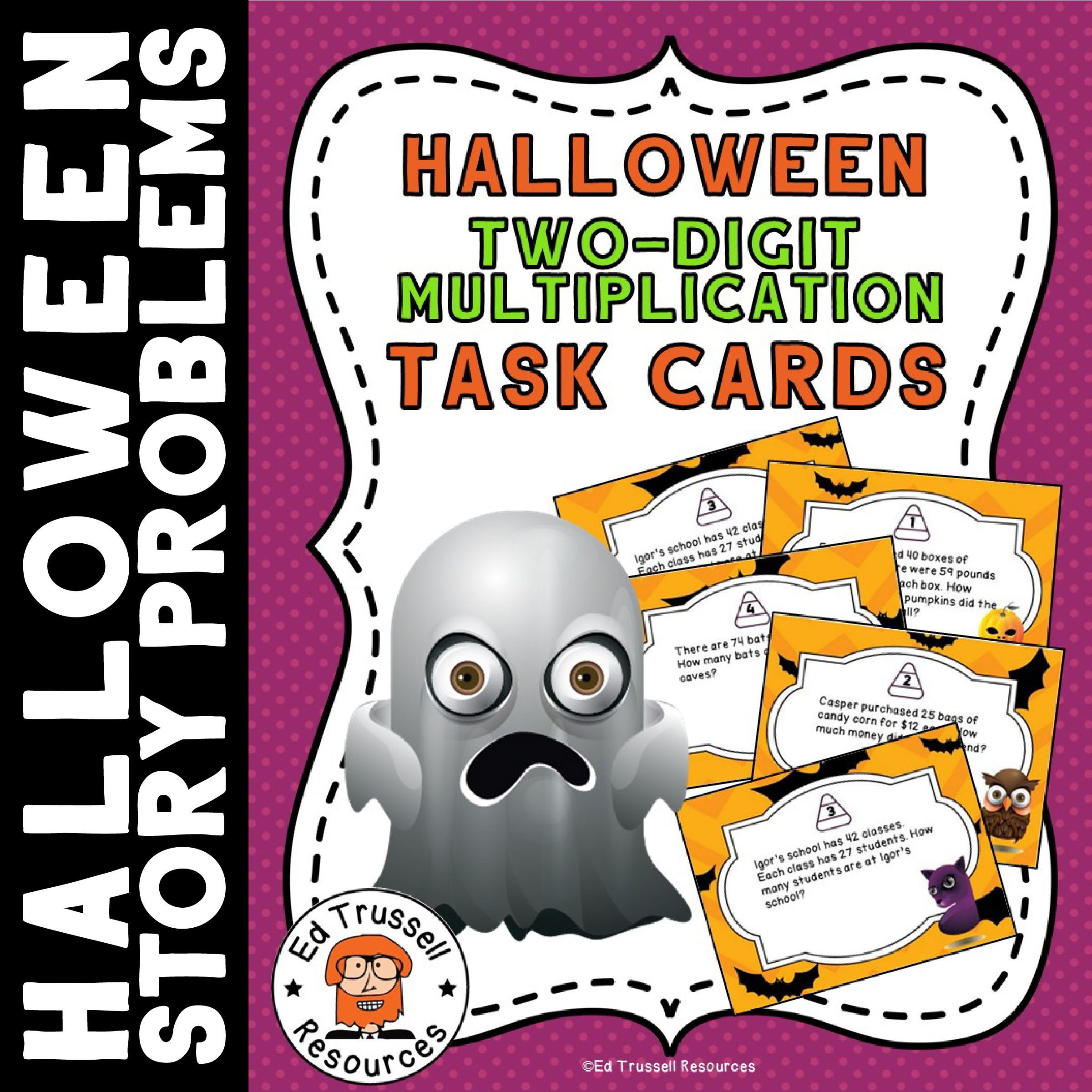 Halloween Two Digit Multiplication Story Problem Task