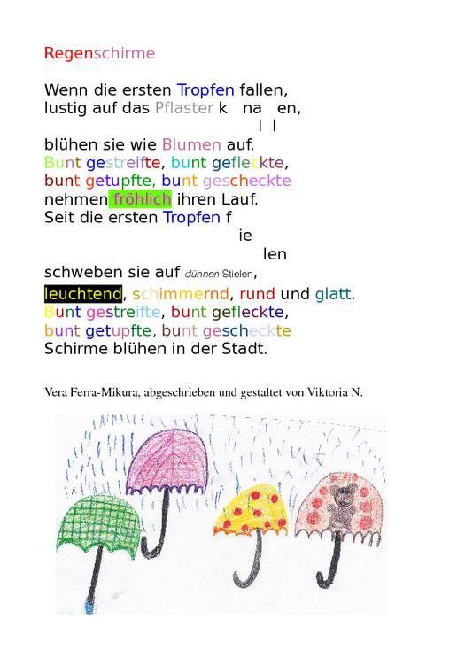 Regenschirm Gedicht Schule | Herbst+Wald | Notebook