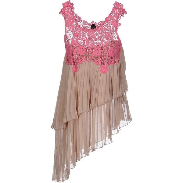 Nolita Top ($91) ❤ liked on Polyvore featuring tops, light pink, light pink sleeveless top, flounce tops, brown tops, brown lace top and sleeveless tops