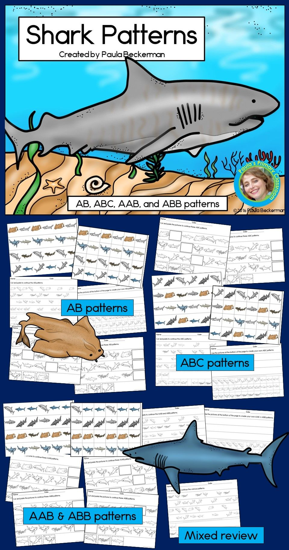 Students Love This Hands On Shark Themed Math Activity There Are 12 Pattern Strips To Extend Ab Abc Aab Abb Patte Abb Patterns Math Center Shark Pattern [ 1824 x 960 Pixel ]
