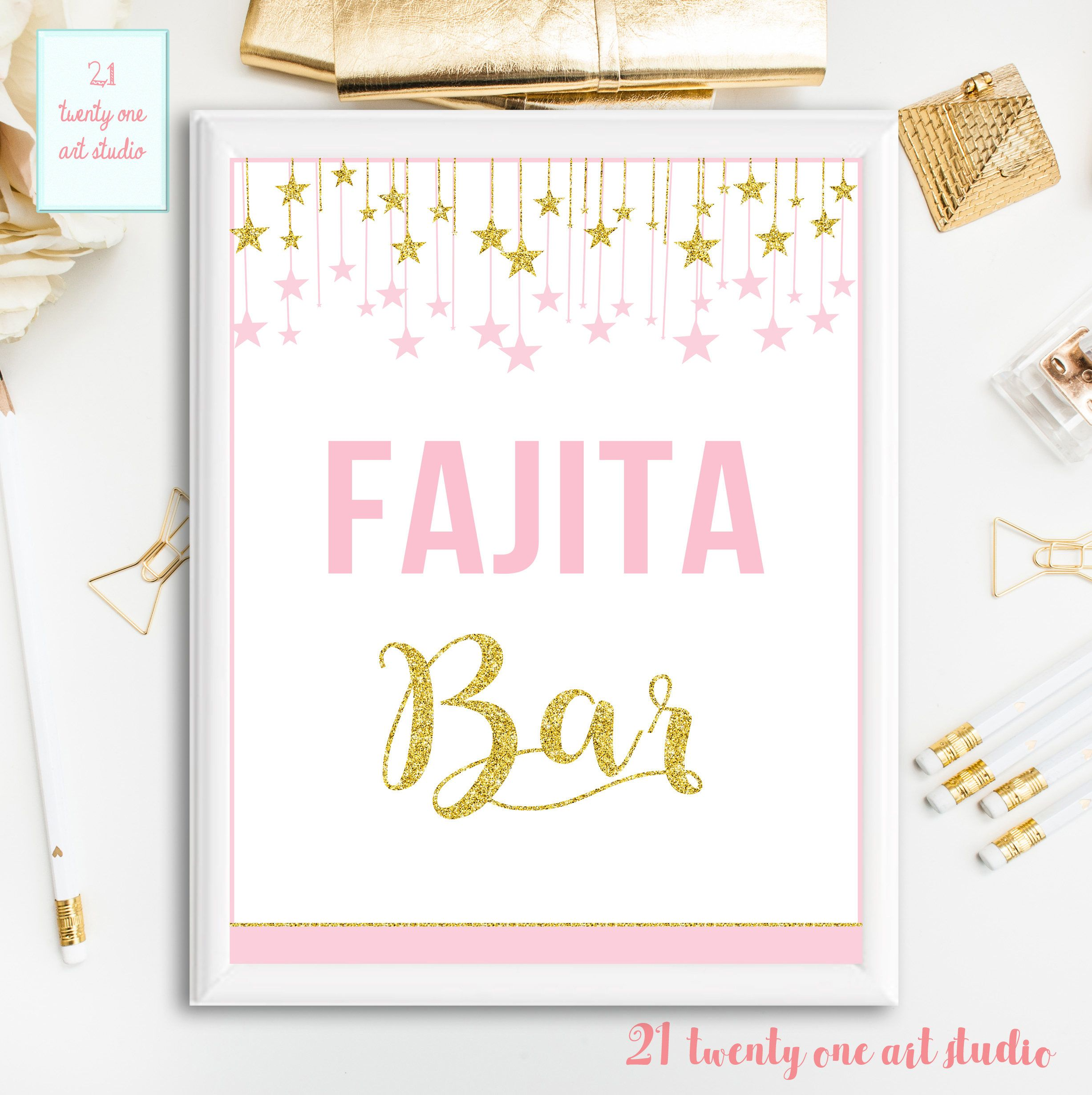 Twinkle Twinkle Little Star Sign, Fajita Bar Birthday Sign, Pink