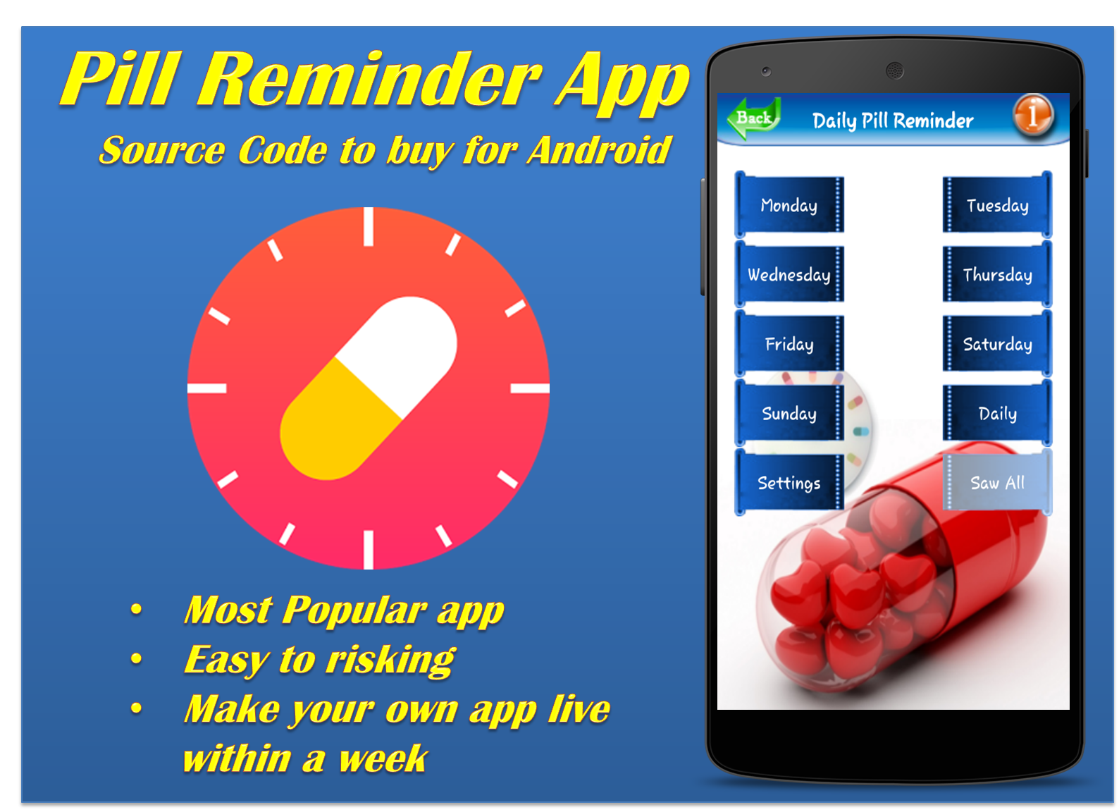 Daily Pill Reminder Android App Get full source code from