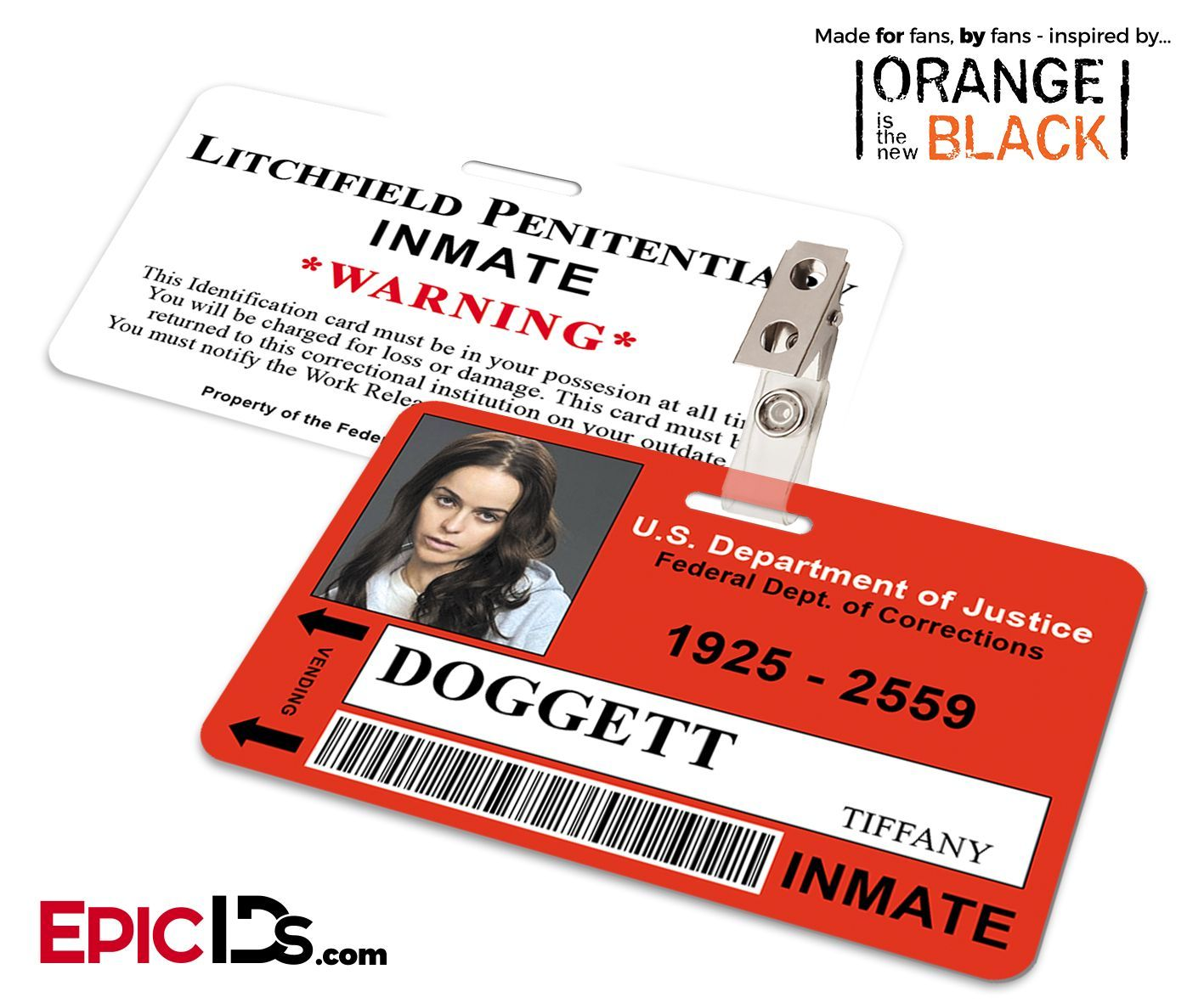 Litchfield Penitentiary Oitnb Inmate Wearable Id Badge  Doggett