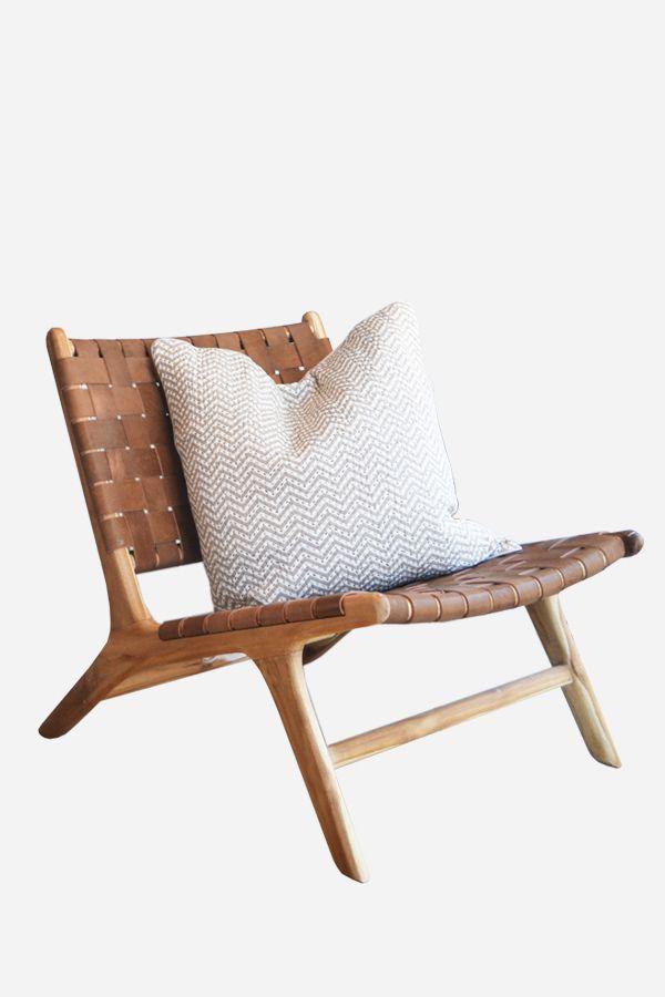 Leather Strapping Marlboro Chair Teak & Tan