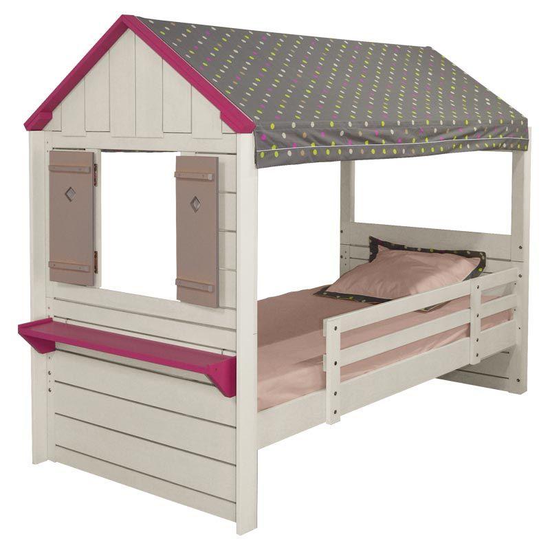 Lit Cabane Enfant PM Blanc Tissu Gris à Pois Multicolores Lit - Lit cabane mobil wood